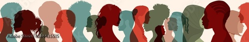 Obraz Diversity multiethnic people. Group side silhouette men and women of different culture and different countries. Coexistence harmony and multicultural community integration. Racial equality - fototapety do salonu