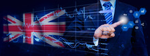 Businessman Touching Data Analytics Process System With KPI Financial Charts, Dashboard Of Stock And Marketing On Virtual Interface. With United Kingdom Flag In Background.