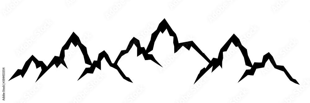 Fototapeta Mountain ridge with many peaks - stock vector