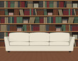 Library interior. There is a white sofa on a bookshelves background. Old books on the shelves. Vector flat illustration