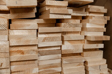 Stack Of Coniferous Boards Lyi...