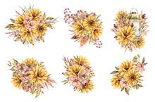 Floral Watercolor Bouquets Wit...