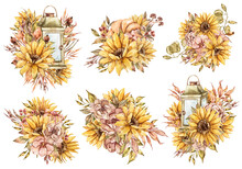 Floral Watercolor Bouquets With Sunflowers, Leaves, Branches, Pumpkin, Berries. Bohemian Clipart Will Be Perfect For Wedding Invitation, Template Card, Birthday Card, Poster, Print, Sticker