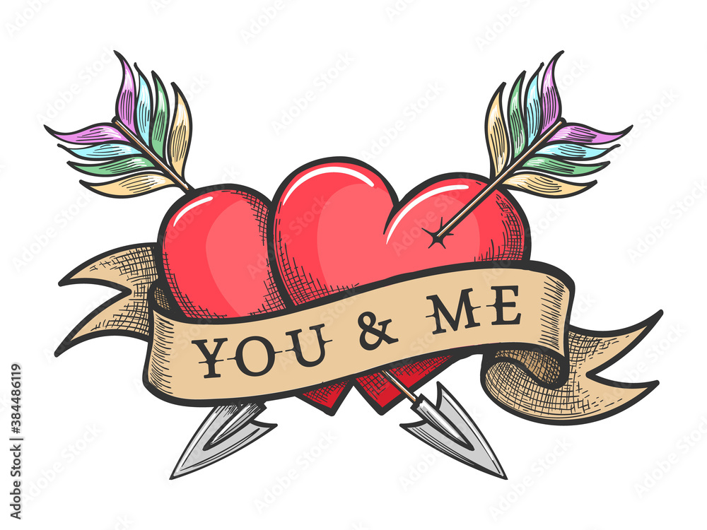 Fototapeta Two Hearts Pierced by Arrows and Ribbon with Lettering You And Me Tattoo
