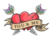 Two Hearts Pierced By Arrows And Ribbon With Lettering You And Me Tattoo