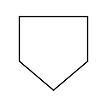 Home Plate Silhouette .Home Base Baseball .