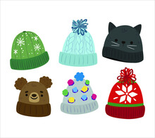 Collection Of Winter Wool Hats For Children/ Baby Flat Icons. Small Knitted Bobble Hats Isolated On A White Background. Handmade Woolly Hat With Pompom.