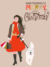Christmas Greeting Card In Retro Style. A  Woman Walks With A Dog. Christmas Sale Poster.