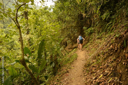 Fotografie, Obraz Hiking to Ciudad Perdida (The Lost City) in Colombias jungle and mountains of Si