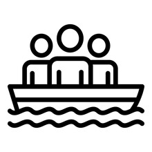 People In Rescue Boat Icon. Ou...