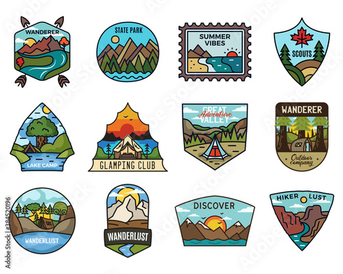Obraz Travel adventure logos collection, Vintage camping emblems. Hand drawn hiking emblems, mountain stickers designs bundle. Discover, state park badges, scouts labels. Stock vector. - fototapety do salonu