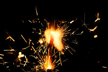 Bengal Fire And Sparks Macro Photo Festive Bokeh Background Christmas And New Year