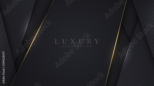 Obraz Luxury abstract background, golden lines on dark, modern black backdrop concept 3d style. Illustration from vector about modern template deluxe design. - fototapety do salonu