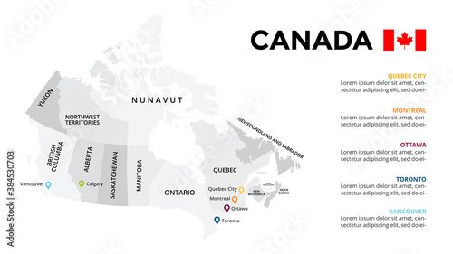 Canada vector map infographic template. Slide presentation. Quebec City, Montreal, Ottawa, Toronto, Vancouver. North America country. World transportation geography data.