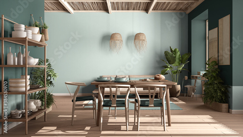Obraz Country living room, eco interior design in turquoise tones, sustainable parquet, dining table, chairs, wooden shelves and bamboo ceiling. Natural recyclable architecture concept - fototapety do salonu