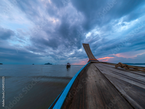 Fotografering long-tail boat at Poda beach in Thailand