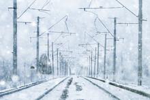 Winter Railway Landscape, View...