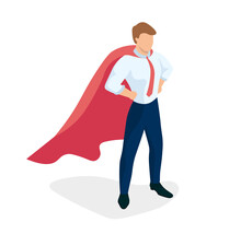 The Superman Office Worker Standing Proudly With His Hands On His Belt And His Back Straight. Super Worker Metaphor. Striving Forward Movement. Team Leader. Professional Worker. Isometric Vector