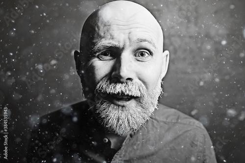 brutal hipster with a gray beard / Christmas winter portrait brutal santa claus, Fototapet