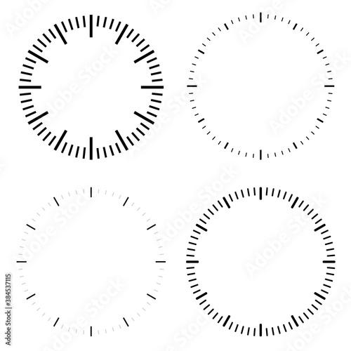 Obraz Clock dial face vector illustrations set - fototapety do salonu