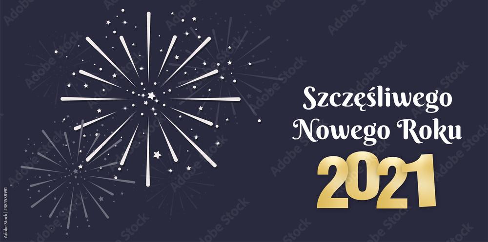 Fototapeta Szczęśliwego Nowego Roku życzenia z tekstem 2021