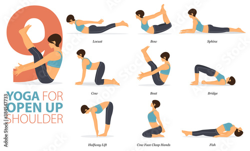 Fotomural 9 Yoga poses or asana posture for workout in Open up shoulder concept