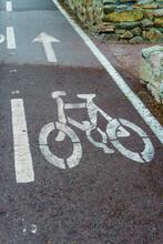Bicycle Symbol. Bike Path In City Park