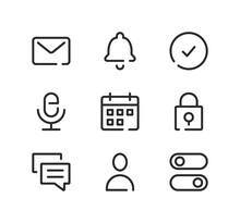 Mobile App Interface Line Icons Set. Modern Graphic Design Concepts, Black Stroke Linear Symbols, Simple Outline Elements Collection. Vector Line Icons