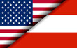 Flags of the USA and Austria divided diagonally