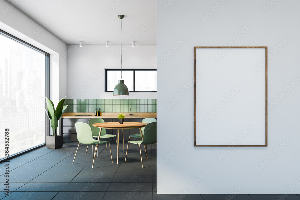 Fototapeta White and green dining room interior with poster