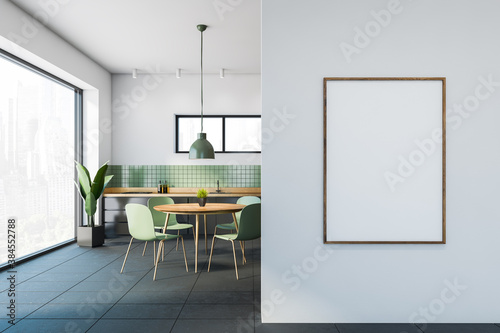 Obraz White and green dining room interior with poster - fototapety do salonu