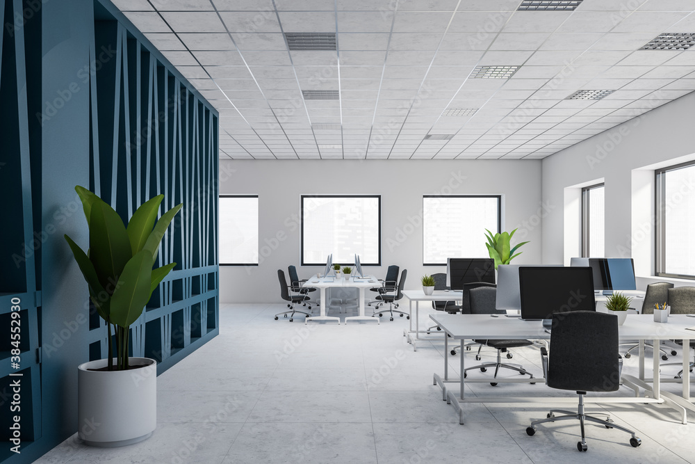 Fototapeta Modern white and blue open space office interior