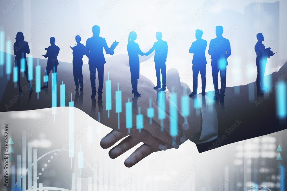 Fototapeta Woman and man shaking hands, financial graph