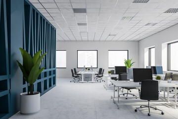 Fototapeta Fitness / Siłownia Modern white and blue open space office interior