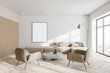 Leinwandbild Motiv Modern white and wooden living room with armchairs and poster