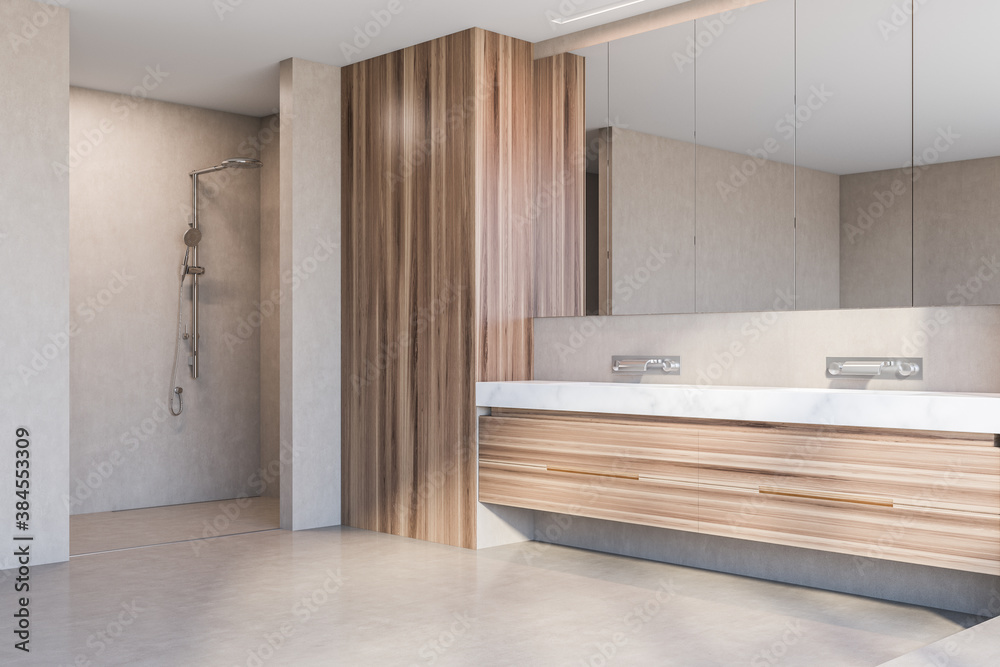 Fototapeta Double sink and shower in modern wooden bathroom corner