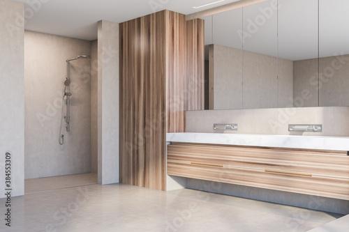 Double sink and shower in modern wooden bathroom corner