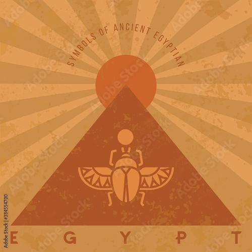 Obraz na plátne Symbols of ancient Egypt in an old style