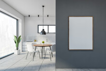White And Gray Dining Room Interior With Poster