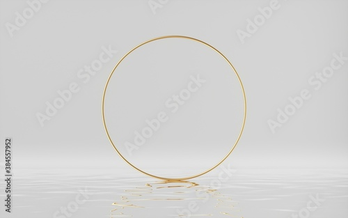 3d render, abstract white background with golden ring and reflection in the water. Empty round frame isolated on white. Blank showcase mockup for product displaying