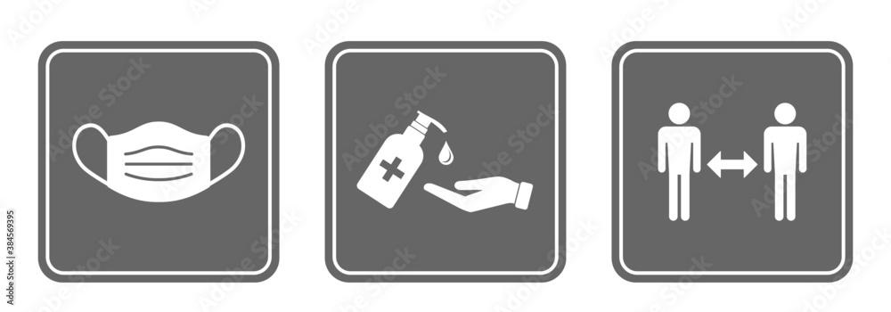 Fototapeta zestaw znaków: dezynfekcja rąk, noszenie maski i zachowania dystansu