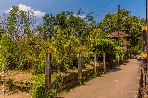 A view approaching the station at Gangoda on the Kandy to Columbo main line rail Wallpaper Mural