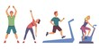 People exercising at gym set. Healthy sport workout for health indoor vector illustration. Young men and women training and stretching, man running on treadmill, girl cycling