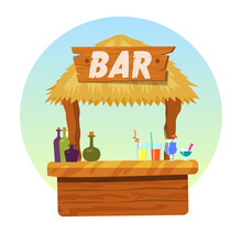 Tiki Bar With Signboard. Hut Or Bar With Thatched Roof And Exotic Cocktail In Mug, Glass Wineglass. Summer Poster Vector