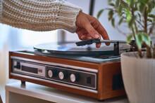 Vintage Retro Vinyl Turntable With Record