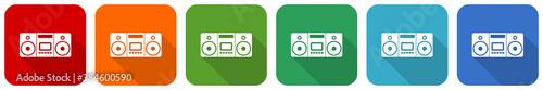 Photo Music, stereo portable equipment icon set, flat design vector illustration in 6
