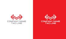 M Fitness Personal Training  Business Logo.Flat Vector Logo Design Template.