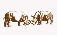 Graphical Vintage Two Rhinos ,...
