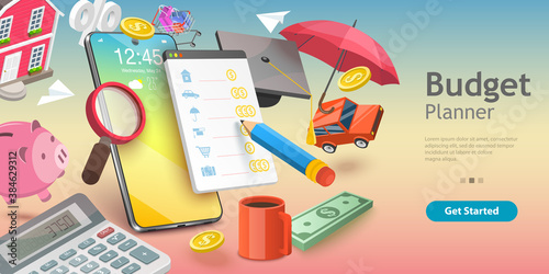 Obraz 3D Vector Conceptual Illustration of Family Budget Management, Mobile App for Financial Calculations and Planning. - fototapety do salonu