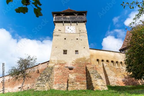 Obraz na plátně Fortified church in Transylvania, Romania, in the village Alma Vii